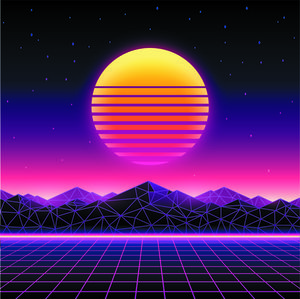 Retro futuristic background 1980s style. Digital landscape in a cyber world. Retro Wave music album