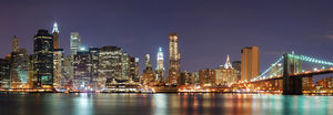 New York City Manhattan skyline panorama with Brooklyn Bridge and office skyscrapers building in at